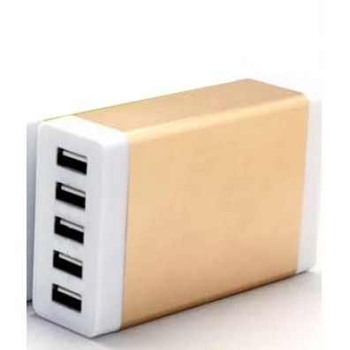 MFC555-usb charger 5 ports 35 W-gold-frontview